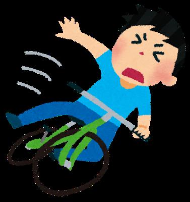 自転車で転ぶ人